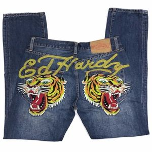 Ed Hardy Embroidered Tiger Men's Jeans